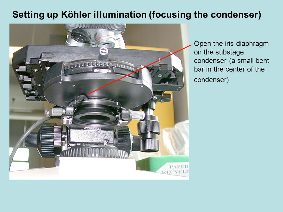 Unfocused condenserFocused condenser Now look through the oculars and slowly lower the condenser until you see a sharp outline of the field diaphragm (it looks like a circle-shaped polygon.) Setting up Köhler illumination (focusing the condenser)
