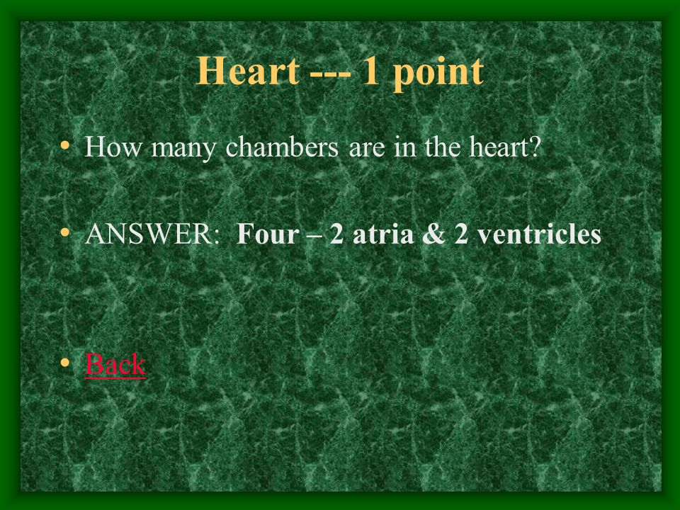 Heart--- 2 points What side of the heart carries deoxygenated blood? Answer: Right side Back