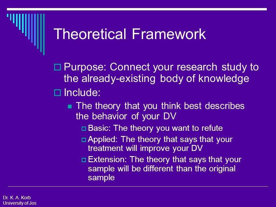 Theoretical Framework: Example  The theory that you think best describes the behavior of your DV Applied: The theory that says that your treatment will improve your DV  Theory of Goal-setting by Locke and Latham (2002)  Building a practically useful theory of goal setting and task motivation  Describes how goal setting works and what makes a good goal Dr.
