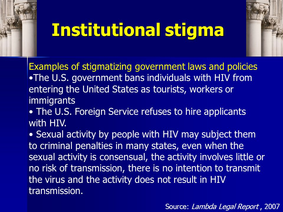 Institutional stigma Public stigma toward persons living with HIV/AIDS is related to the perceived connections of HIV/AIDS to other stigmas Policies of private and governmental institutions that have a negative impact people with these related stigmas also serve to legitimize and perpetuate HIV- related stigma