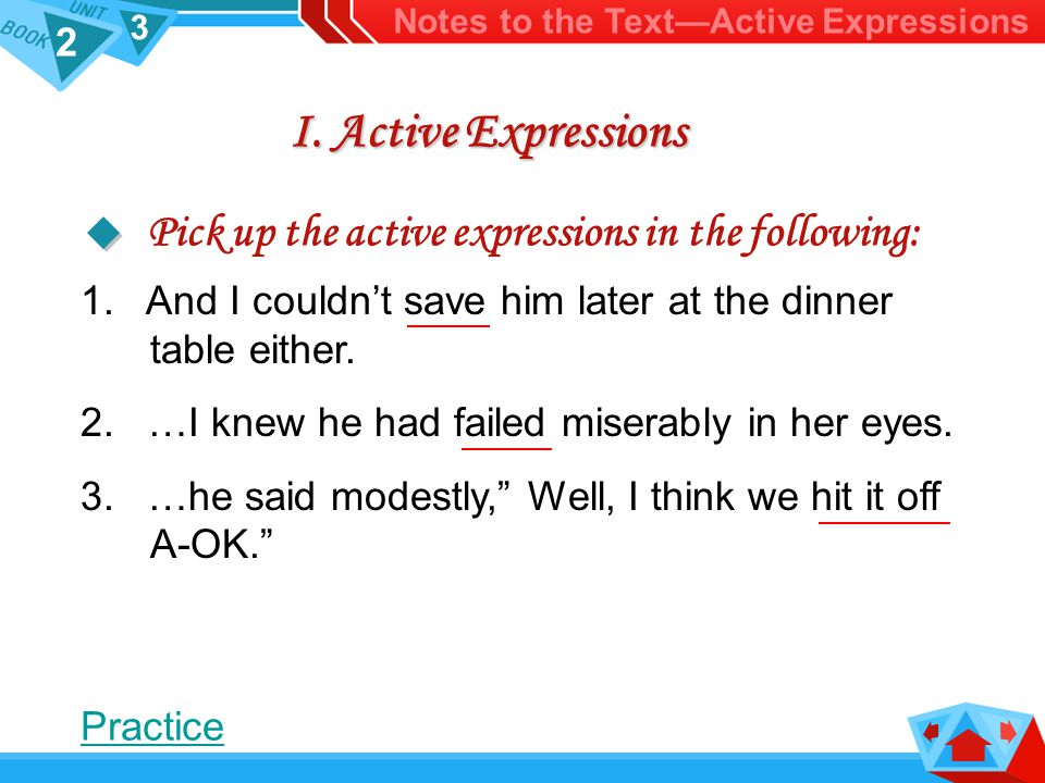 2 3 I.Active Expressions 1. And I couldn't save him later at the dinner table either.