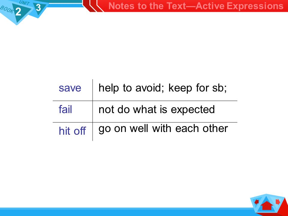 2 3 save help to avoid; keep for sb; fail not do what is expected hit off go on well with each other Notes to the Text—Active Expressions