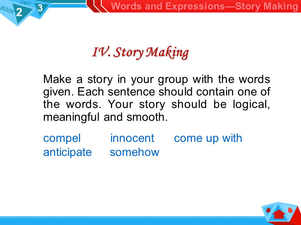 2 3 IV.Story Making Make a story in your group with the words given.