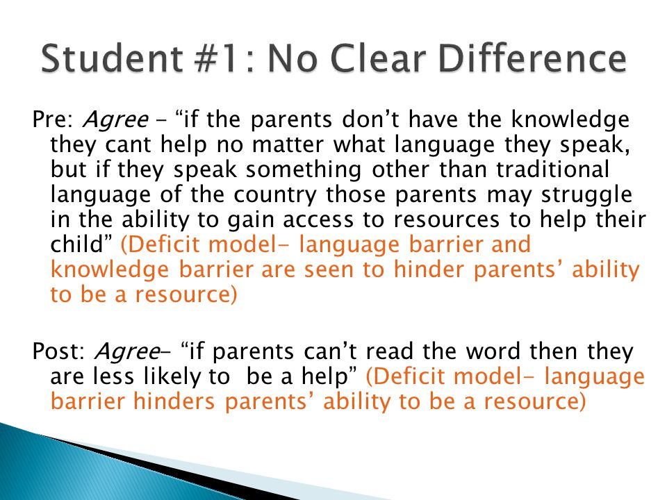 Pre: Agree - I agree to some extent, learning academic vocabulary can be a challenge to some students. (Focus on math vocabulary as the main problem-no acknowledgement of students' diverse cultures/language) Post: Strongly Disagree - Children's home language can help students solve problems, not hinder them (Acknowledges students' home culture/language as a resource for student learning mathematics)