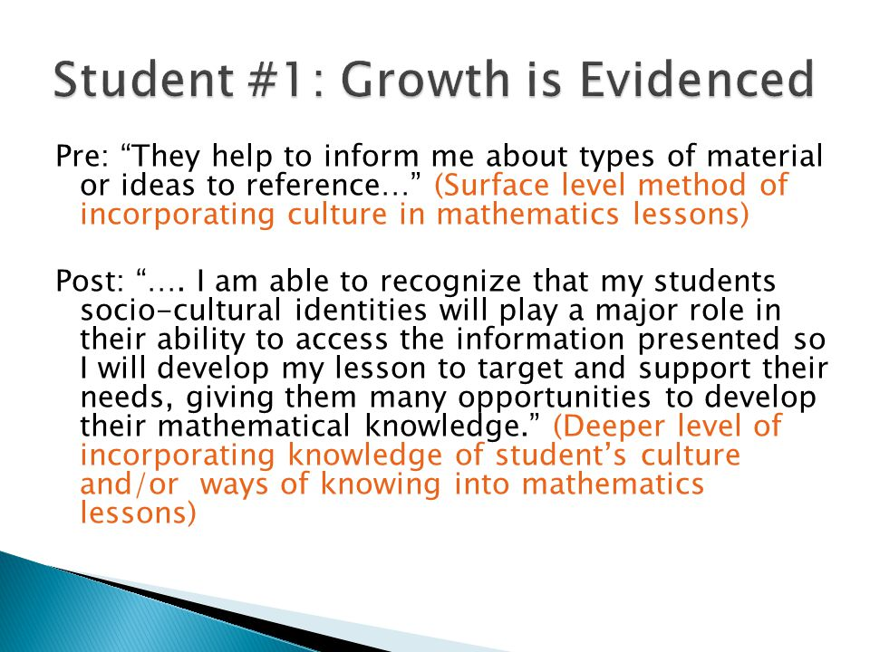 Pre: I have always been one of those kids who just got it and zoned out when the teacher kept talking so I have to stay focused and make sure that I am looking (at the) problem from from multiple perspectives so each student can find a way that works for them. (Focused on self as sharer of knowledge- does not acknowledge students as a resource/source of knowledge) Post: I try to use names of people from the same ethnicity of my students and objects or themes they have heard of to make it more realistic. (Still focused on their own perspective of culture and using their perspective and knowledge when engaging students)