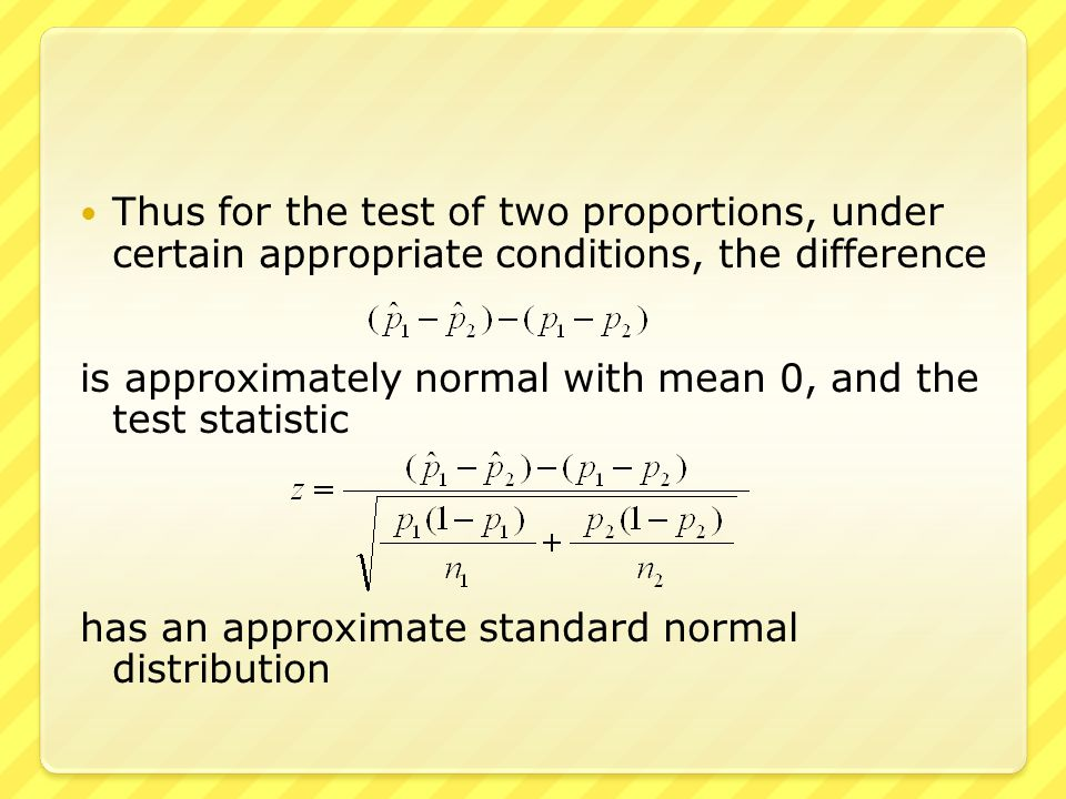 ● We have two independent samples  55 out of a random sample of 100 students at one university are commuters  80 out of a random sample of 200 students at another university are commuters  We wish to know of these two proportions are equal  We use a level of significance α =.05 ● When we calculate np & n(1-p) for each of the two samples, results are affirmative