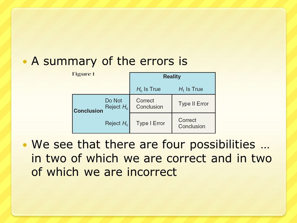 ● When we reject (and state that the null hypothesis is false) but the null hypothesis is actually true … this is called a Type I error ● When we do not reject (and state that the null hypothesis could be true) but the null hypothesis is actually false … this called a Type II error ● In general, Type I errors are considered the more serious of the two
