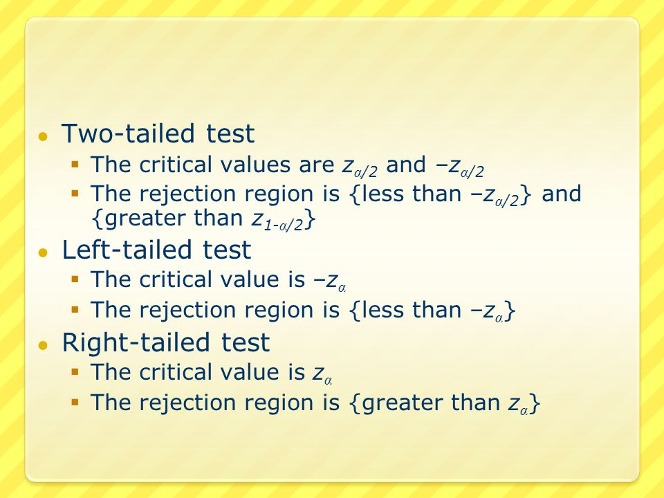 The difference is We standardize This is called the test statistic If the test statistic is in the rejection region – we reject