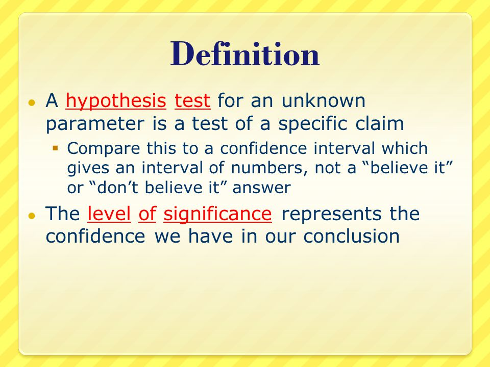 Null Hypothesis How do we state our claim.