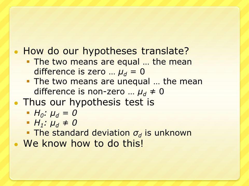 To solve  H 0 : μ d = 0  H 1 : μ d ≠ 0  The standard deviation σ d is unknown This is exactly the test of one mean with the standard deviation being unknown This is exactly the subject we have covered previously