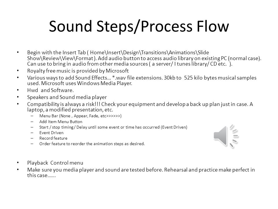 Sound Steps/Process Flow Begin with the Insert Tab ( Home\Insert\Design\Transitions\Animations\Slide Show\Review\View\Format ).
