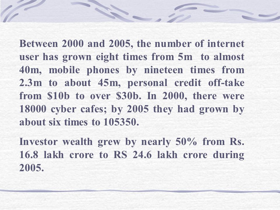 All India GSM subscriber base reached 58.51 million at the end of 2005, up from the 37.37 million in year 2004.