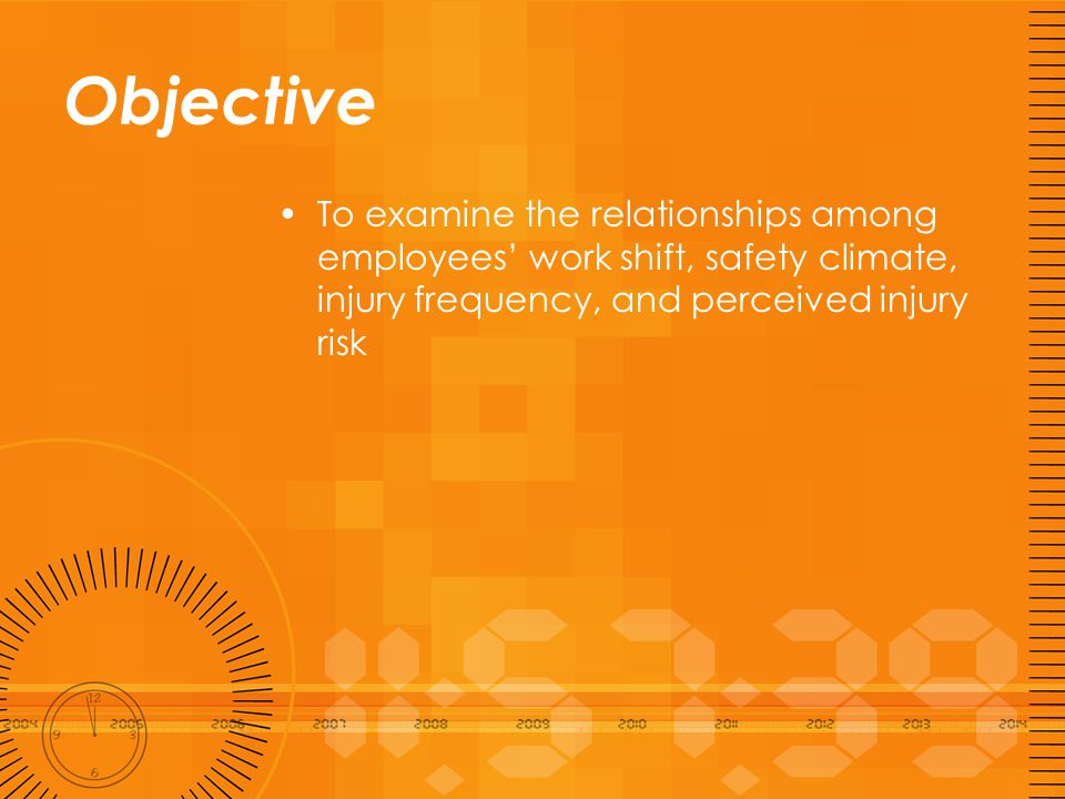 Outline Introduction –Work shift –Safety climate –Company level injury frequency Method Results Discussion