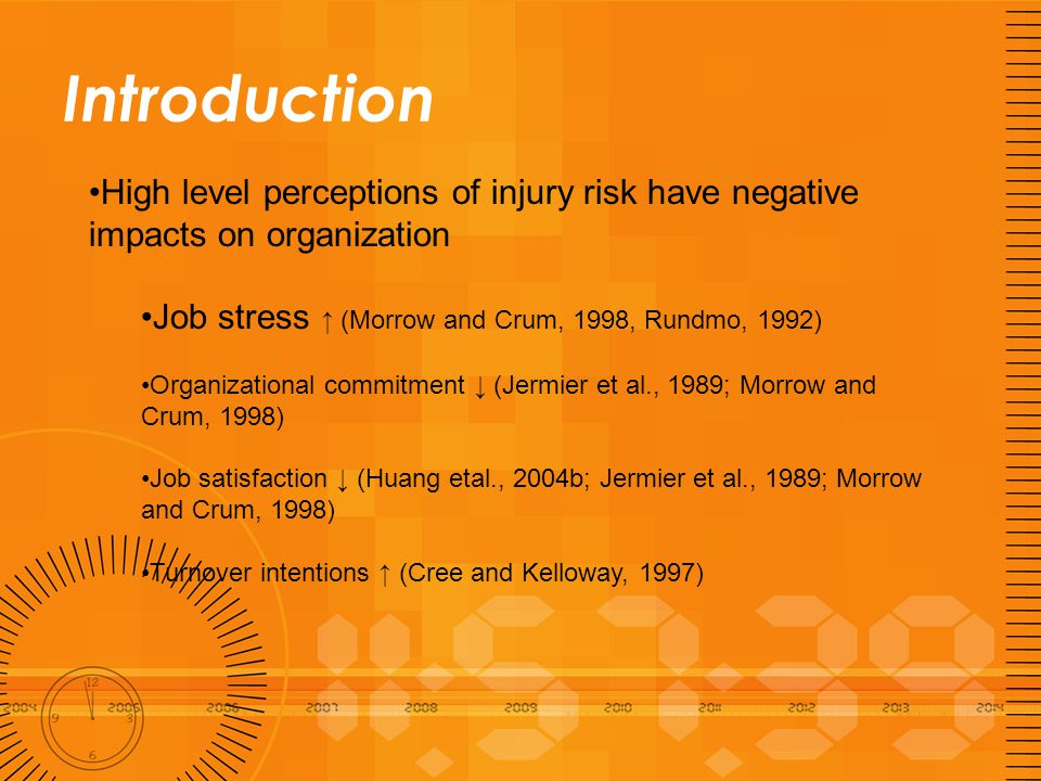 Introduction This study examines the effects of work shift organizational safety climate and company level injury frequency on workers' perceptions of injury risk.