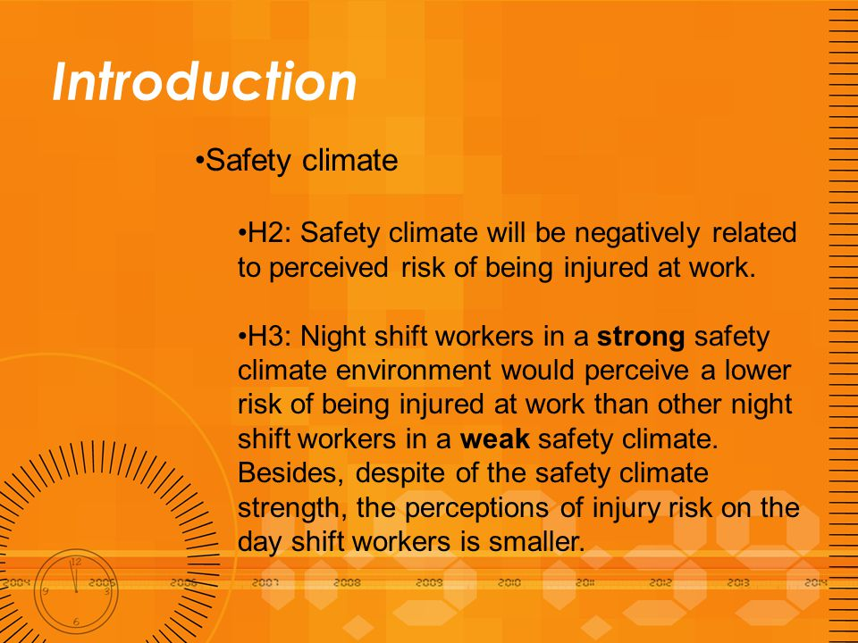 Introduction Company level injury frequency H4: there will be a positive relationship between company injury frequency and perception of injury risk at work.