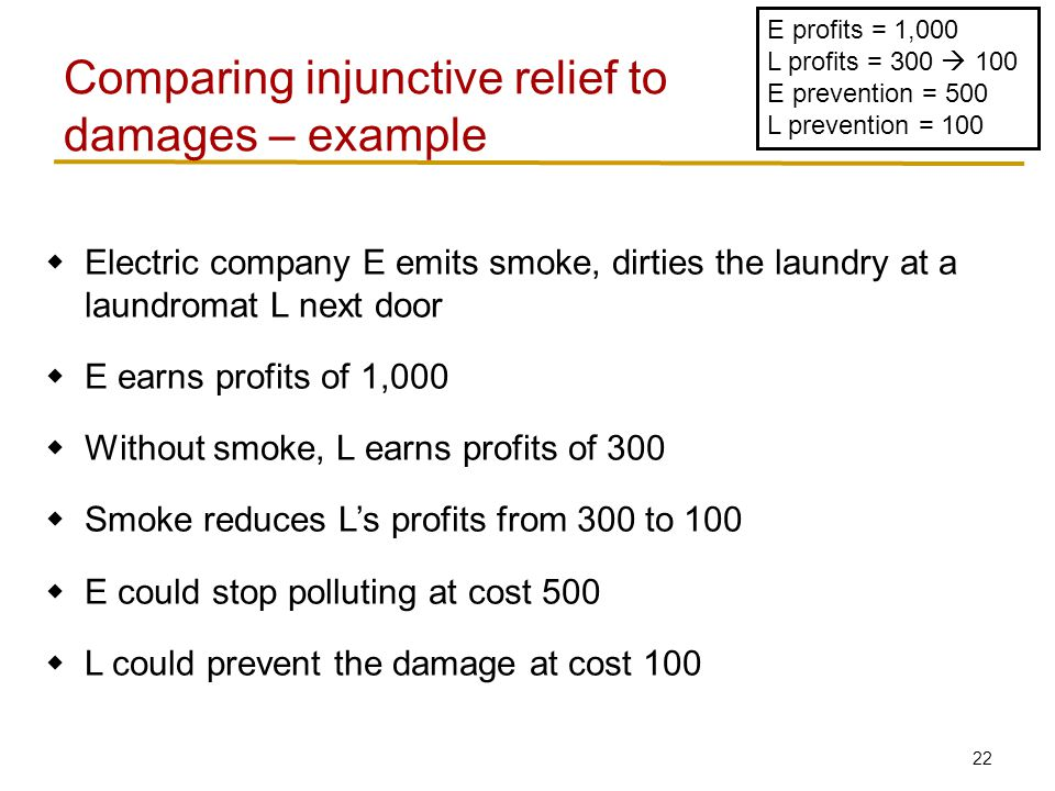 23  Polluter's Rights (no remedy)  E earns 1,000  L installs filters, earns 300 – 100 = 200  Laundromat has right to damages  E earns 1,000, pays damages of 200  800  L earns 100, gets damages of 200  300  Laundromat has right to injunction  E installs scrubbers, earns 1,000 – 500 = 500  L earns 300 First, we consider the non-cooperative outcomes E profits = 1,000 L profits = 300  100 E prevention = 500 L prevention = 100