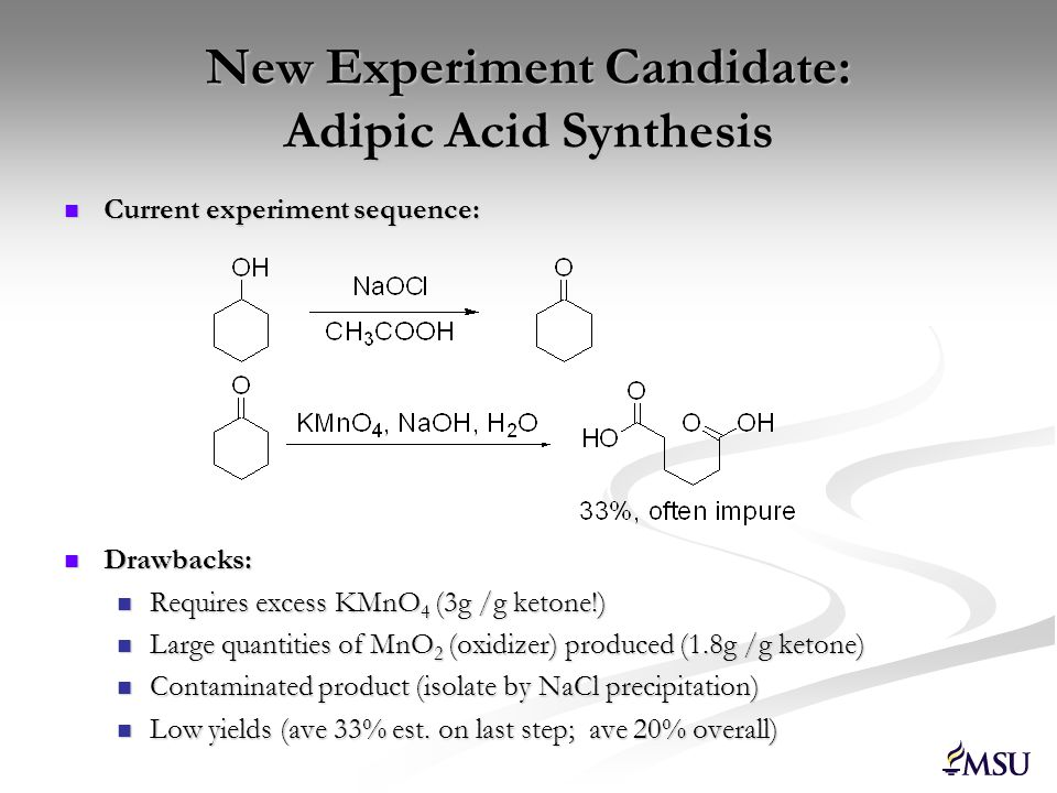 New Experiment: Catalytic Oxidation A Green Adipic Acid Synthesis Propose 1 – 1 g scale oxidation Propose 1 – 1 g scale oxidation Advantages Catalytic oxidation By-products: O 2, H 2 O Higher yields 1.