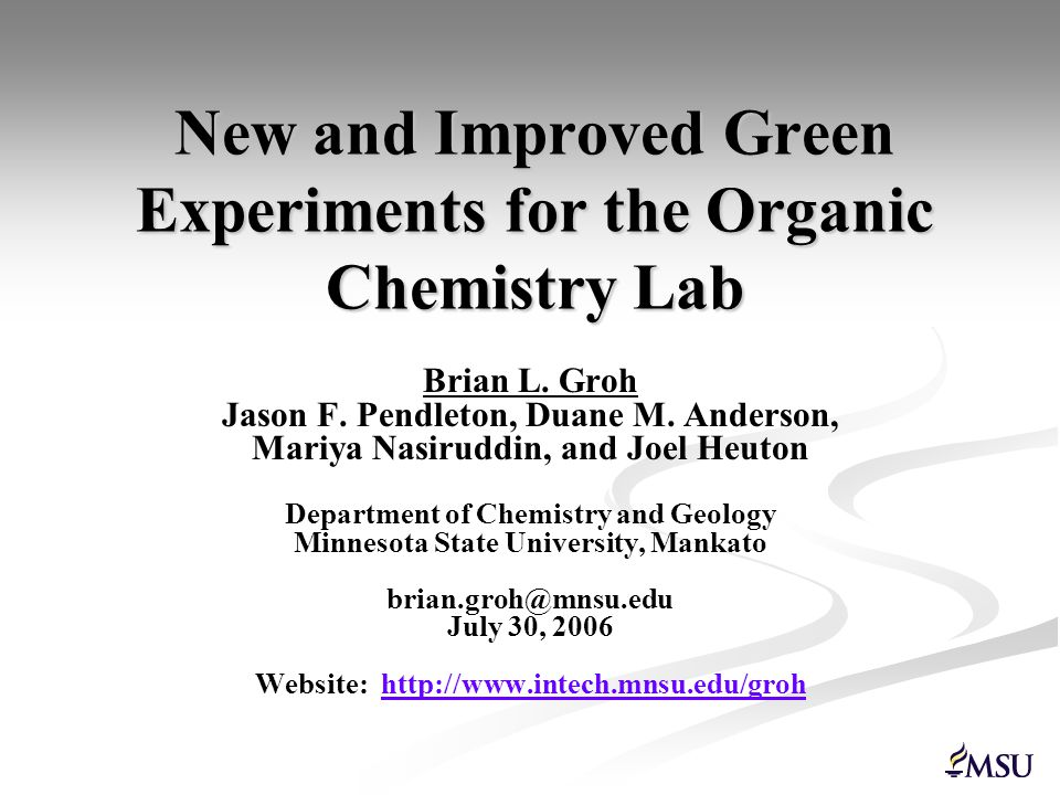 Experimental Procedures Procedures for the experiments outlined in this presentation may be requested from Brian Groh by email at.