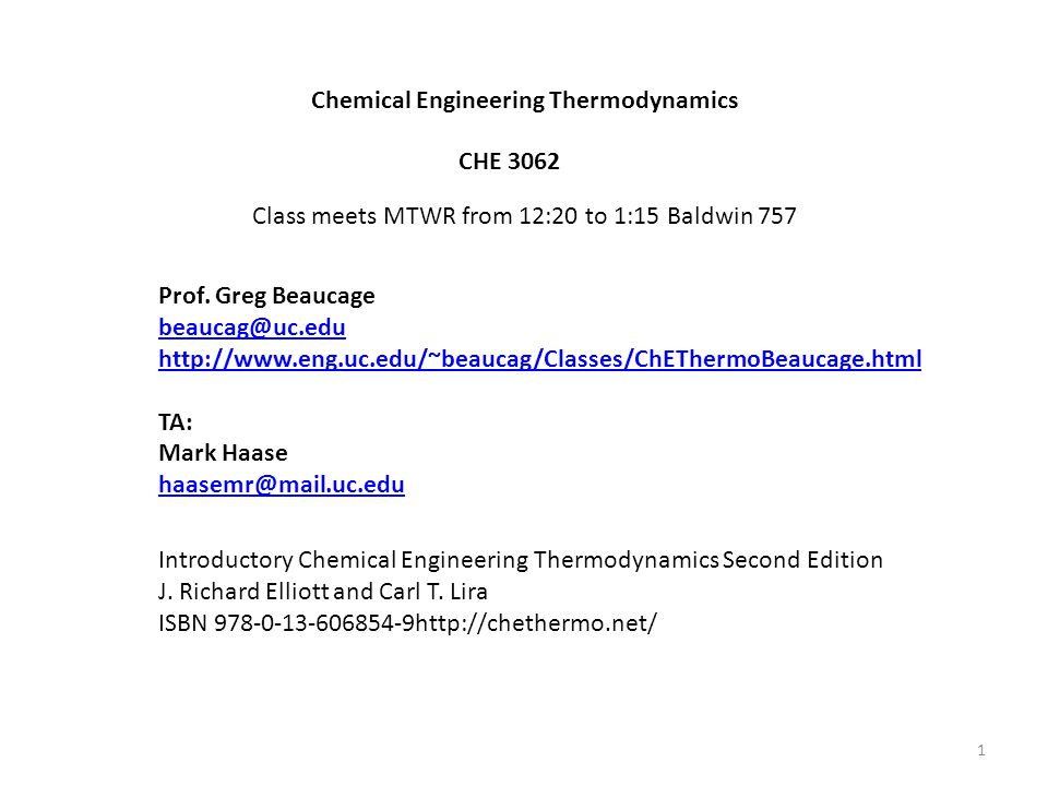 Chemical Engineering Thermodynamics Quizzes: Weekly quiz composed of questions from homeworks.