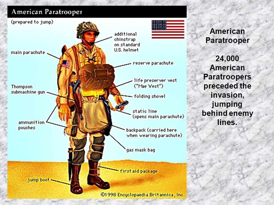 American Paratrooper 24,000 American Paratroopers preceded the invasion, jumping behind enemy lines.