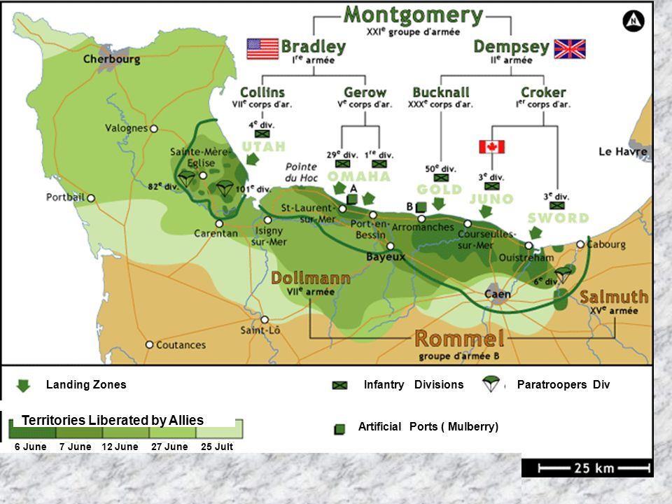 6 June 7 June 12 June 27 June 25 Jult Territories Liberated by Allies Landing ZonesInfantry DivisionsParatroopers Div Artificial Ports ( Mulberry)