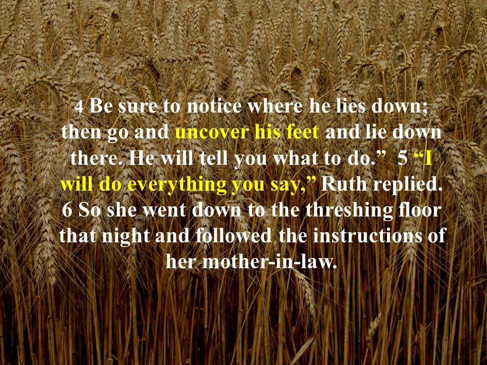 7 After Boaz had finished eating and drinking and was in good spirits, he lay down at the far end of the pile of grain and went to sleep.
