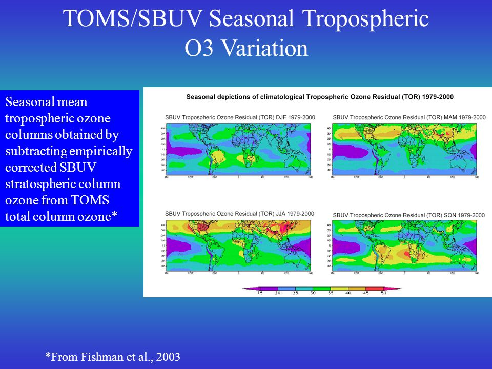 MOPITT 850mb CO observations averaged over 4 years (March 2000-February 2004) for each season.