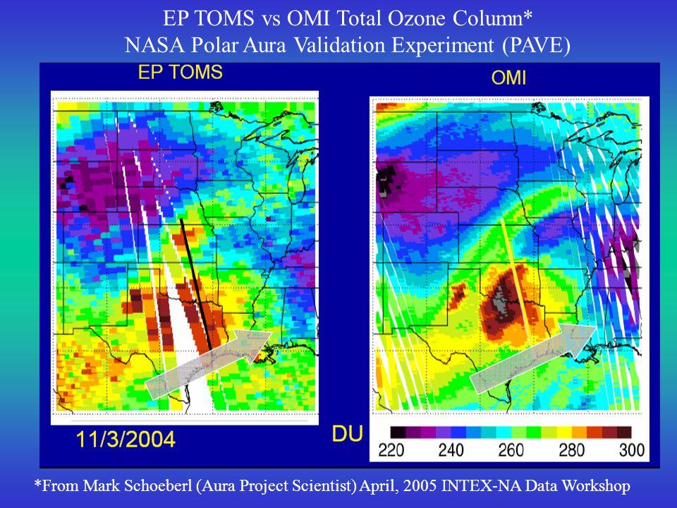 OMI Total NO2 Column* NASA Polar Aura Validation Experiment (PAVE) *From Mark Schoeberl (Aura Project Scientist) April, 2005 INTEX-NA Data Workshop