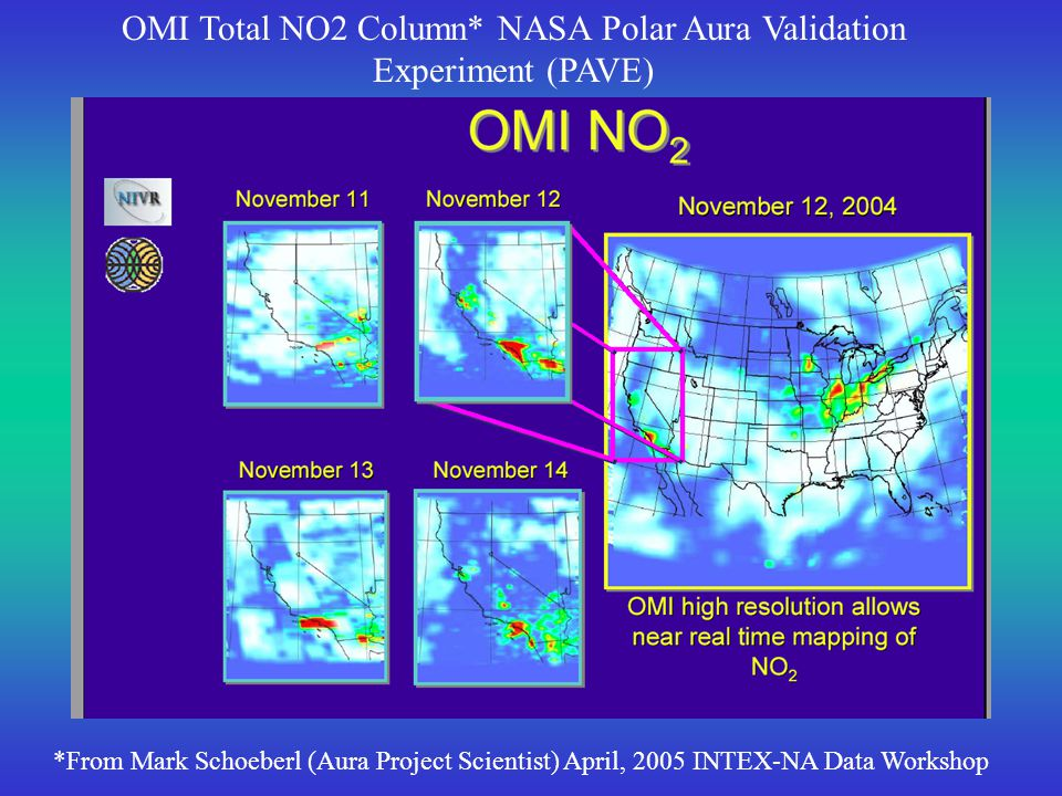 OMI Total HCHO Column* NASA Polar Aura Validation Experiment (PAVE) *From Mark Schoeberl (Aura Project Scientist) April, 2005 INTEX-NA Data Workshop