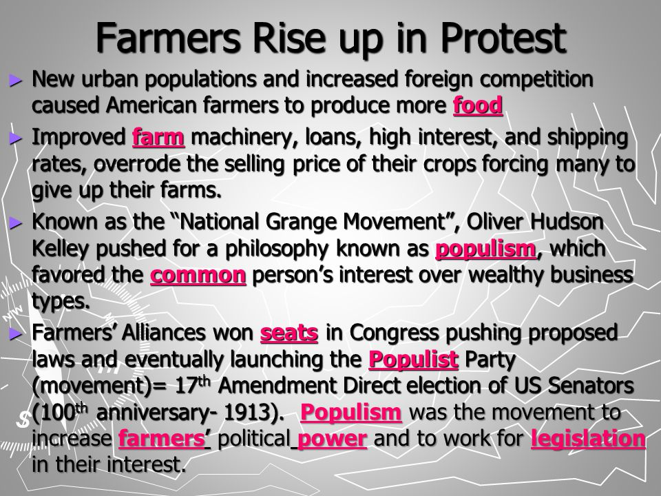 Power to the People Interstate Commerce Act (1887): farmers wanted to stop railroads from offering lower cost or secret rebates to larger businesses (Wabash vs Illinois Many wanted to outlaw the gold standard (system of backing a country's currency with its gold reserves) & create an unlimited coinage of silver to save our economy that was currently in turmoil.