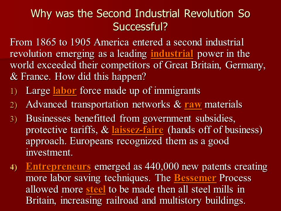 An Innovation Nation ► Many of the technological advances created a market for goods that was national in scale, and by so doing encouraged mass production, mass consumption, and specialization.