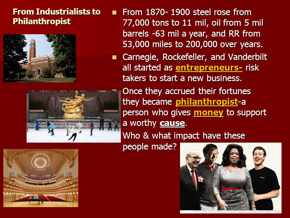 Doing some good with all that $$$$ PersonOrganizationPurpose Oprah (21)Angel Network Making people lives better Warren (9) Buffet Girls Inc & Gates Foundation $37 bn Education/ Recreation to @ risk girls Bill GatesGates Foundation World Health educ Mark Zuckerberg Silicon Valley Comm Foundation Fixing educ challenges in Cali