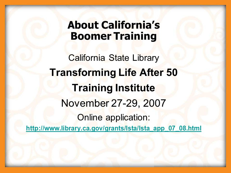 © 2007 Boomer Project, LLC Understanding Today's Boomer Library Consumer Presenter: Matt Thornhill matt@boomerproject.com Presenter: Matt Thornhill matt@boomerproject.com Tuesday, August 7, 2007 12:00 noon to 1:00 p.m.