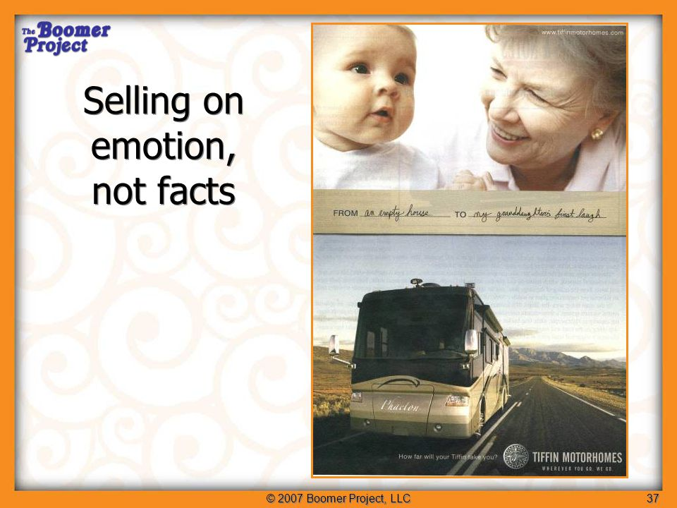 © 2007 Boomer Project, LLC38 Implications: Don't present more facts, but more reasons Implications: Don't present more facts, but more reasons 2.