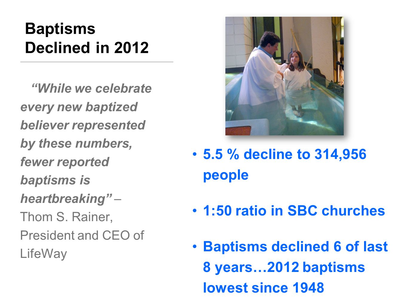 BAPTISMS BY AGE GROUPS, SBC YoungSenior PreschoolChildren YouthAdult YearTotal(Under 6) (6-8)(9-11)(12-17)(18-29)(30-59)(60+) 2000414,6574,40351,65474,99493,10070,466105,02415,016 2001395,9304,36449,13871,60786,92866,104101,80515,984 2002394,8934,38649,28770,88284,05665,906102,68017,696 2003377,3574,13948,95467,84681,24661,39497,96815,810 2004387,9474,20749,76767,59184,04063,772102,18016,390 2005371,8504,27249,68365,47981,70860,36294,13016,216 2006364,8264,17949,84765,07579,58758,09991,75416,645 2007345,9413,87845,82561,79275,98955,92987,73314,795 2008342,1983,84044,74161,23375,21556,04184,66716,461 2009349,7373,89144,16263,04076,44257,33187,61117,260 2010331,0083,35642,30259,81573,11854,32681,73016,361 Baptisms in the past decade