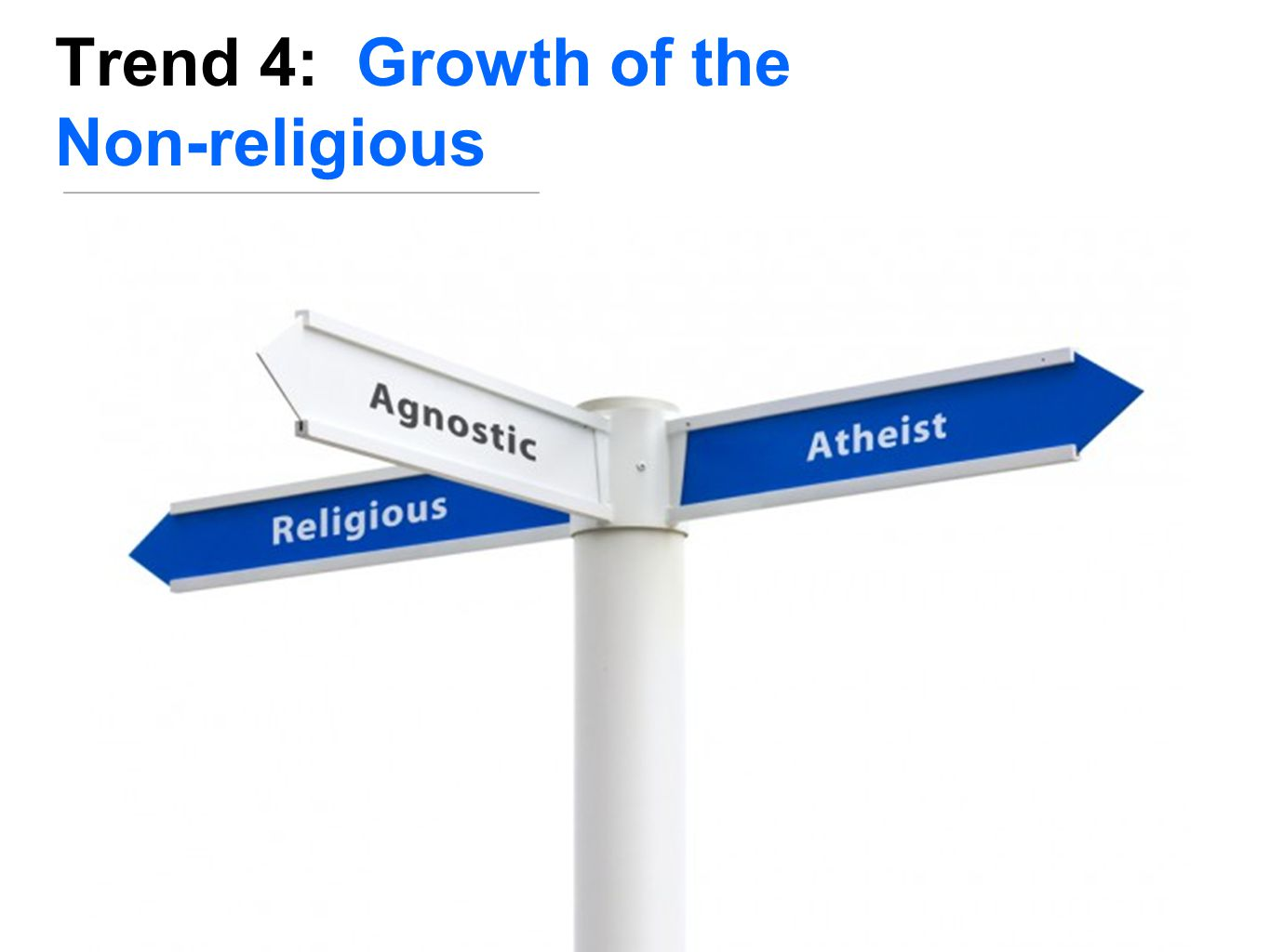 July 2, 2013 Survey by www.pewforum.org  1/3 of adults under age 30 are religiously unaffiliated  1/5 of adults age 18+ have no religious affiliation  2/3 of Americans (religious and irreligious) say that religion is losing its influence in America  55% of the unaffiliated say the trend doesn't make much difference for our society