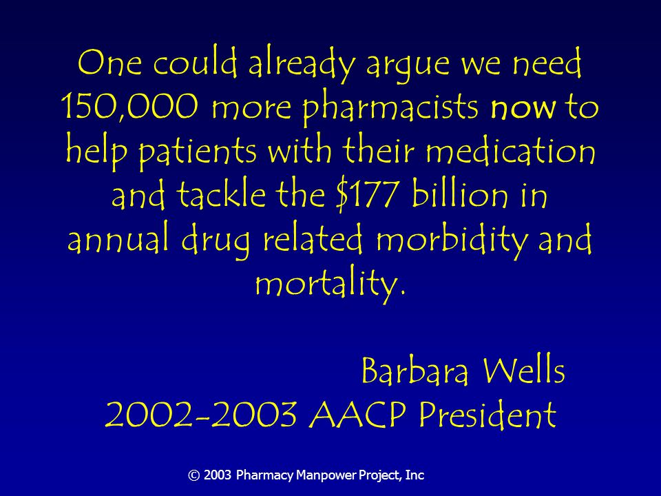 © 2003 Pharmacy Manpower Project, Inc Section Three Manpower Conference: Why, What, How