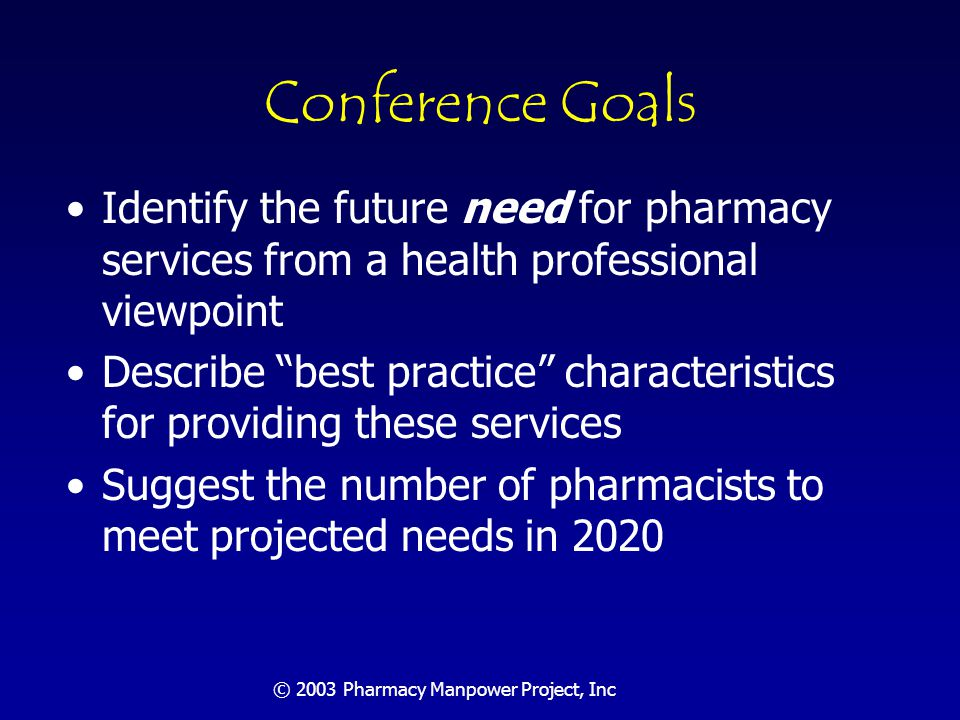 © 2003 Pharmacy Manpower Project, Inc Participants and Process Two dozen experts: –All segments of pharmacy –Medicine –Economics –Workforce specialists Three days of deliberations – all discussions; no speakers