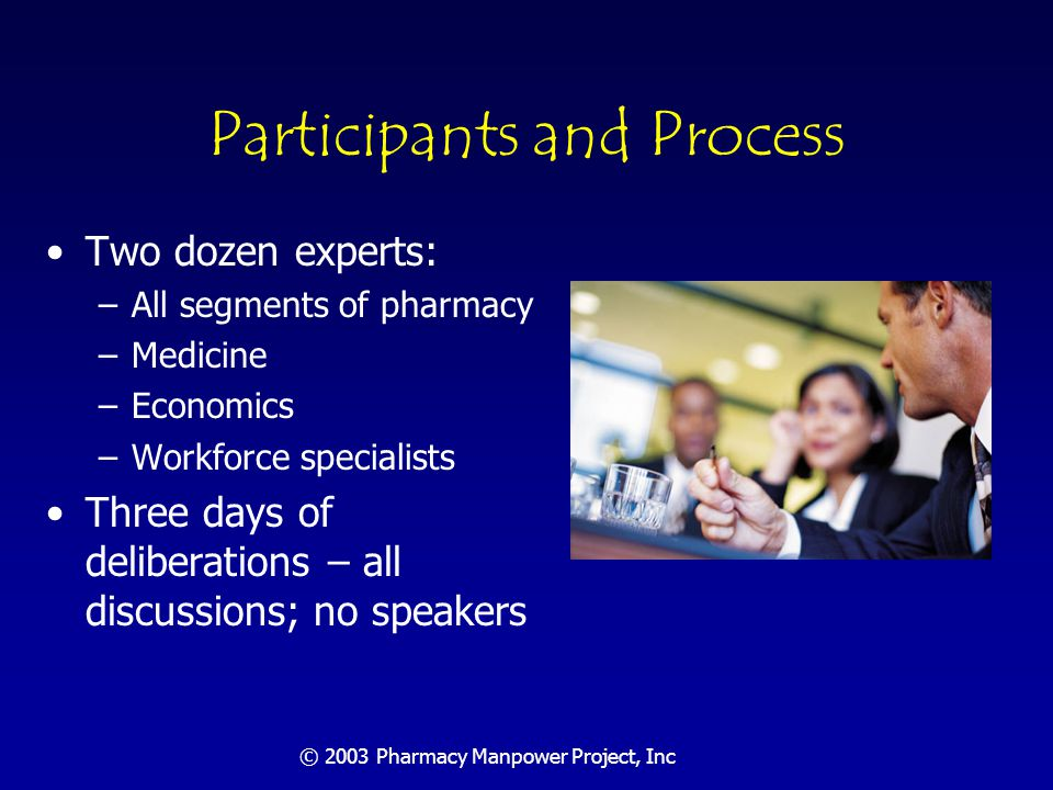 © 2003 Pharmacy Manpower Project, Inc Forecasting Need: Criteria for Best Practices IOM's Quality Chasm Report aims are that practices must be: –Safe –Effective –Patient-centered –Timely –Efficient –Equitable