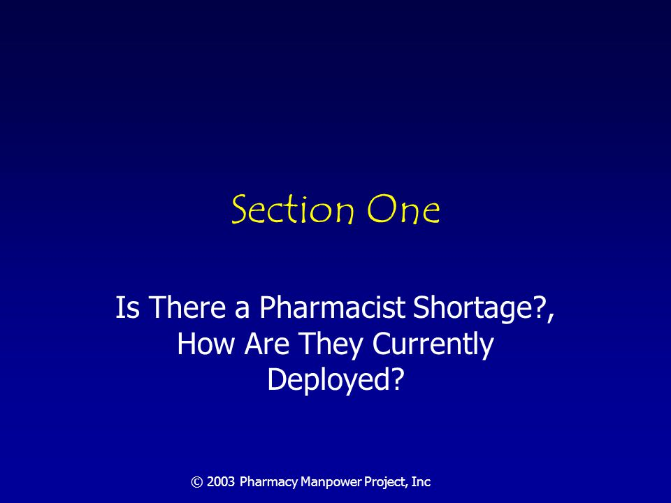 © 2003 Pharmacy Manpower Project, Inc Are We Experiencing a Pharmacist Shortage.
