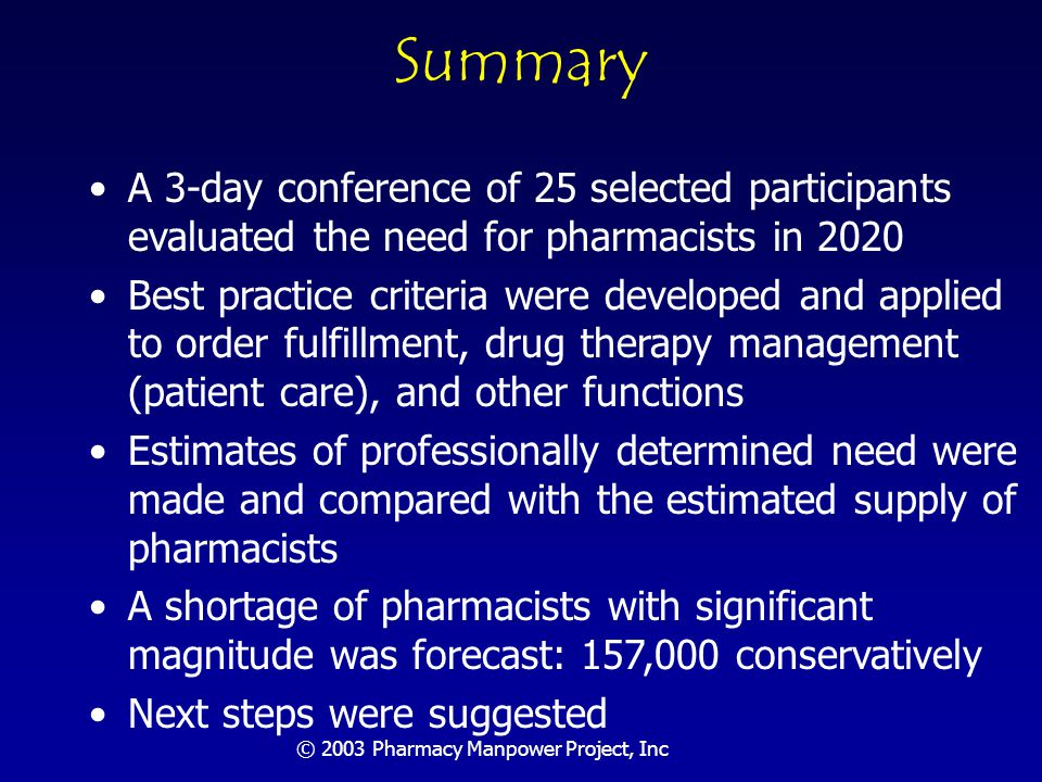 © 2003 Pharmacy Manpower Project, Inc Strengths of Approach Knowledgeable participants Balance of viewpoints Rapid engagement with issues Global perspective Highly focused Substantial pre-meeting preparation Analysis based on best practice case examples