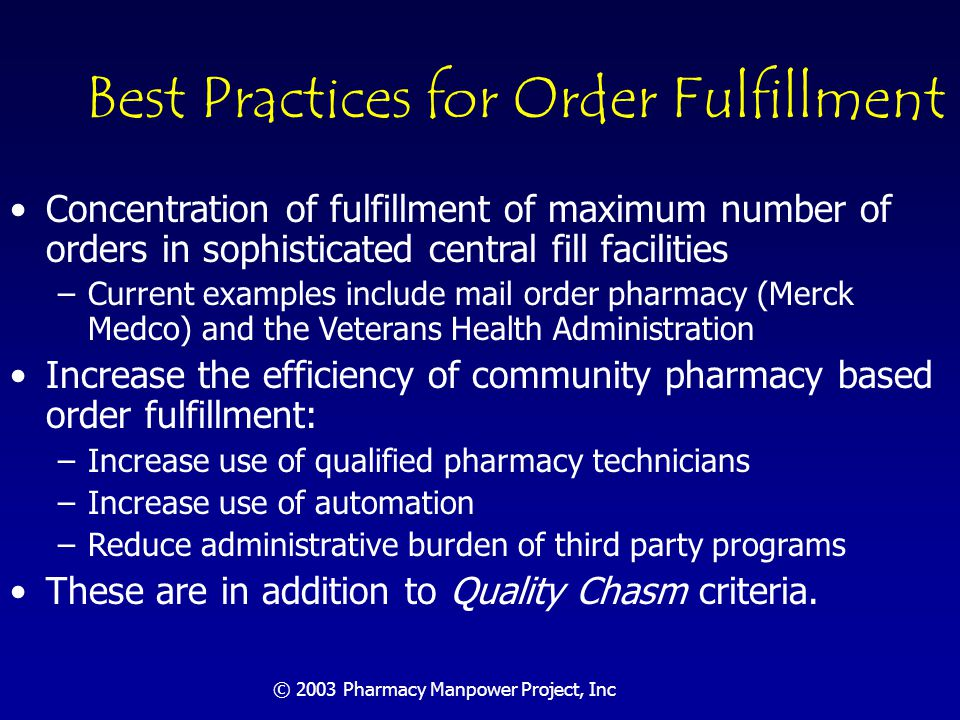 © 2003 Pharmacy Manpower Project, Inc Community Pharmacy Order Fulfillment Conference estimates that 101,400 FTE pharmacists currently dispense about 30,000 prescriptions per pharmacist per year Arthur Anderson report identified major inefficiencies in use of pharmacists in order fulfillment NACDS Education Foundation: Pharmacy Activity Cost and Productivity Study, November 1999, www.nacds.org/publications/research&studies