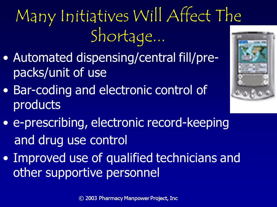 © 2003 Pharmacy Manpower Project, Inc Outpatient Order Fulfillment Forecast 80% of time now spent by pharmacists in the order fulfillment function can be assumed by automation and/or technical personnel Therefore, best practices could increase order fulfillment output/pharmacist five times Conference projects outpatient prescriptions to grow at rate of 5% per year