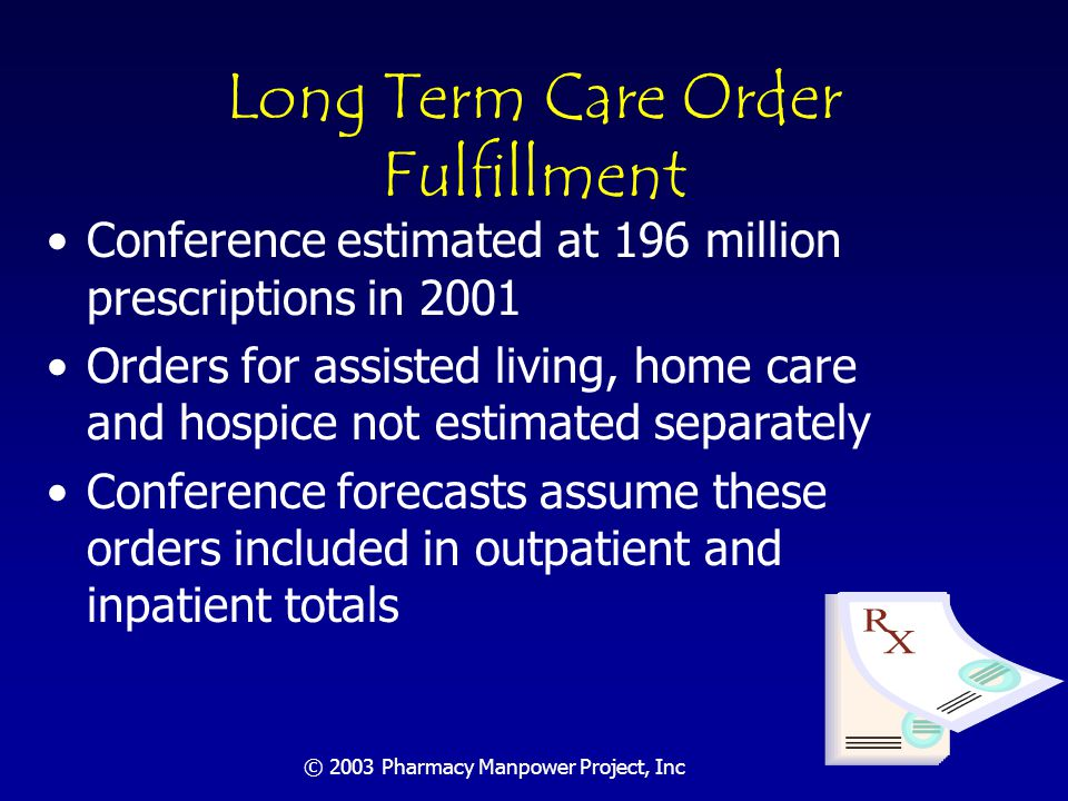 © 2003 Pharmacy Manpower Project, Inc Order Fulfillment Needs Forecast: Summary Assuming all conference projections hold, about 100,000 pharmacists will be needed in 2020 for the order fulfillment function.