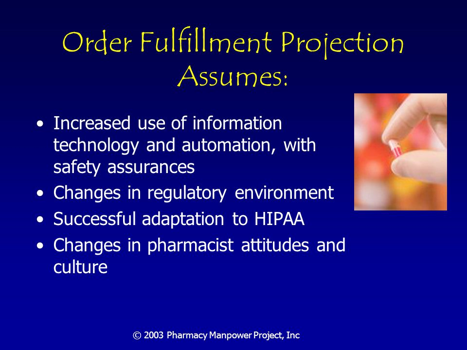 © 2003 Pharmacy Manpower Project, Inc Patient Care Functions Will Require Nearly 300,000 FTE Pharmacists Expanded need will be due to: –Population demographics & special need populations –More drugs, increased potency, higher cost –Emergence of personalized drug therapy through gene therapy and biotechnology –Requirements of specialized drug therapy management for high-risk treatments –Increased need for communication among patients and providers