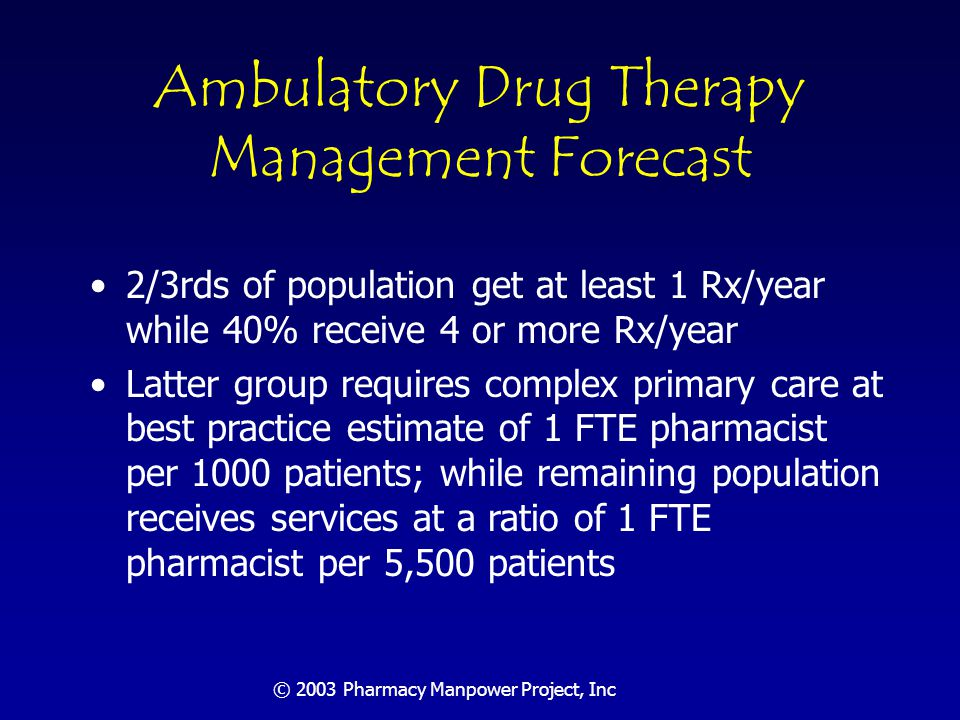 © 2003 Pharmacy Manpower Project, Inc Hospital-Based Drug Therapy Management About 5,000 hospitals in the U.S.