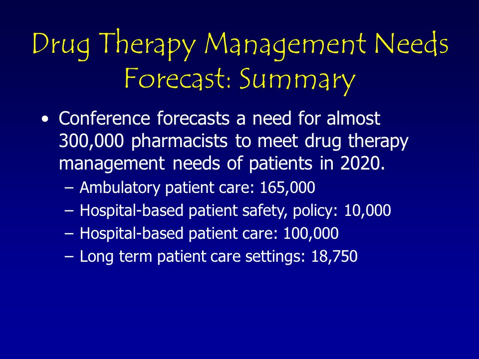 © 2003 Pharmacy Manpower Project, Inc Non-Patient Care Needs Forecast Estimated at 22,000 in 2020 Relatively small but critical area Specialty and leadership positions in –Profession –Industry –Academia –Government