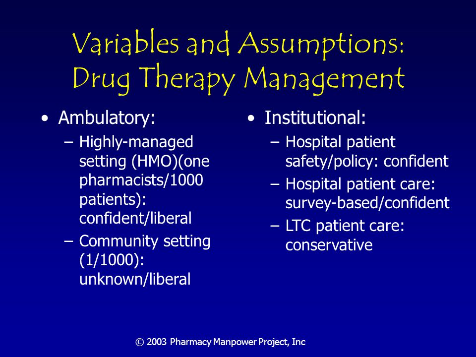 © 2003 Pharmacy Manpower Project, Inc Variables and Assumptions: Other Needs; Pharmacist Supply Other Needs: –Category by category assessment: conservative Pharmacist Supply –Enrollment growth in existing schools (10% total): conservative –New schools (class size 100; 3 new 2010-2020): moderate