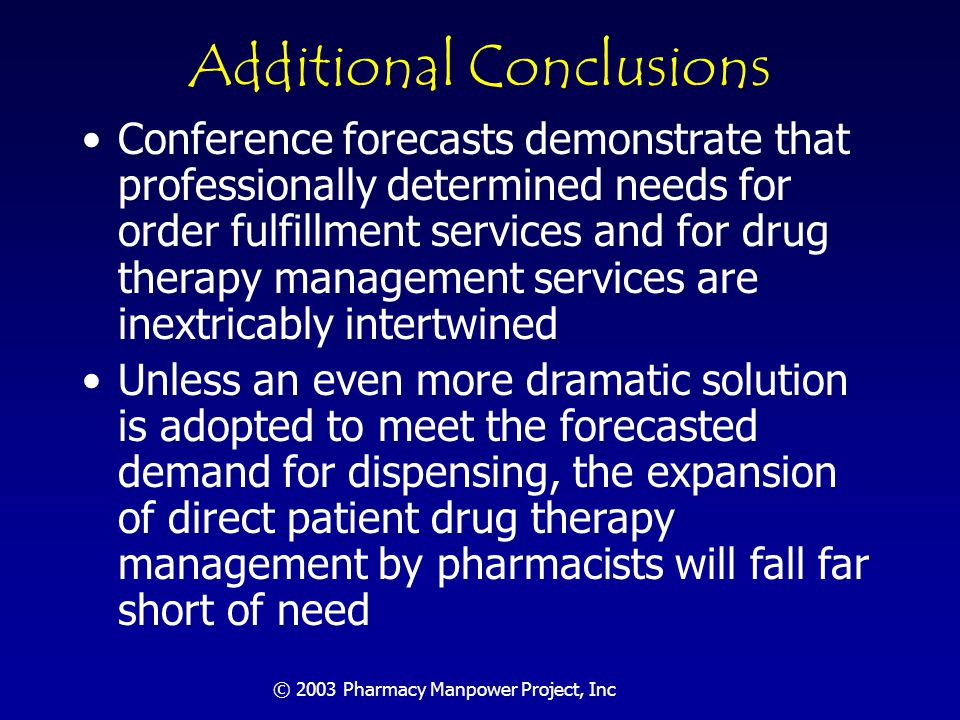 © 2003 Pharmacy Manpower Project, Inc Section Five: Actions Needed by Profession