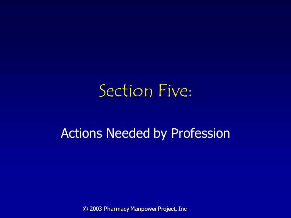 Actions Required By The Profession Embrace responsibility for drug therapy management Commit to obtaining and maintaining the knowledge, skills and abilities required by patient care Achieve provider status for pharmacists under Medicare Obtain a supporting payment mechanism Expand the size of the profession in order to meet unmet societal needs Fully utilize technology & technicians for order fulfillment